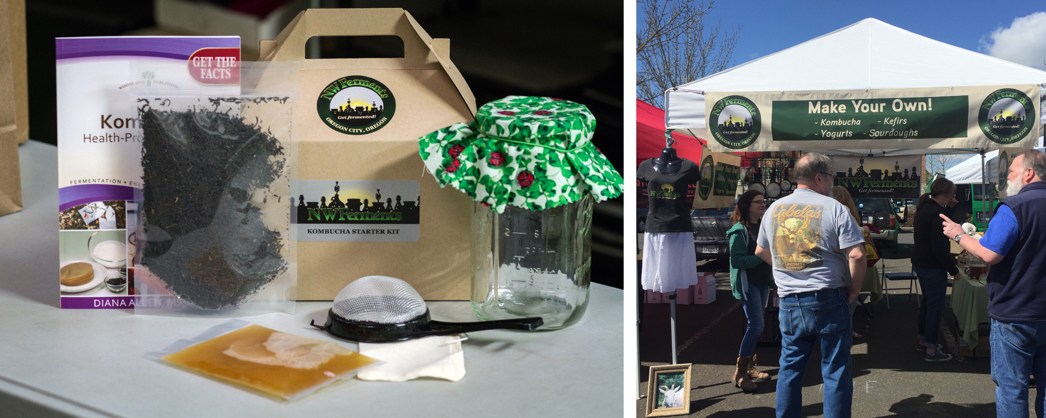 NW Ferments Kombucha starter kit and tent at OC Farmers Market